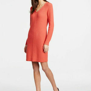Ann Taylor S Coral V-Neck LS Ribbed sweater dress